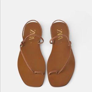 Zara braided flat sandal sz 10